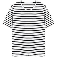 Yoins Yoins Stripped T-shirt (26 BAM) ❤ liked on Polyvore featuring tops, t-shirts, shirts, yoins, black, shirts & tops, distressed tee, strip shirt, black tee and black top