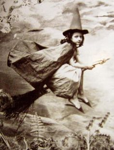 Flying witch, photographer and era unknown (possibly mid-Victorian)