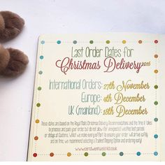 Time sure does fly! Today is my last order date for international Christmas delivery so if you live outside of Europe and were planning on placing an order for your Christmas gifts today is the day to do it!  Worldwide International Orders: Sunday 27th November 2016 Europe: Sunday 4th December 2016 UK (mainland): Sunday 18th December 2016  I will be continuing working and posting all orders right the way up to 20th December but orders placed after these recommended dates might arrive after…