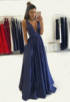 prom dresses, deep v-neck prom dresses, chic navy party dresses, 2017 prom evening gowns, vestidos