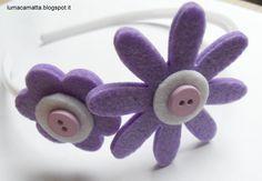 Cerchietti per capelli: fiori lilla e bottoncini