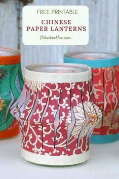 Brighten up your mantle with these upcycled tea light jars which includes free paper lantern templates. Six different designs to choose from. #chinesenewyearcrafts #paperlanterns Diy Home Crafts, Diy Craft Projects, Fun Crafts, Paper Crafts, Amazing Crafts, Craft Ideas, Cool Diy, Chinese Paper Lanterns, Chinese New Year Crafts
