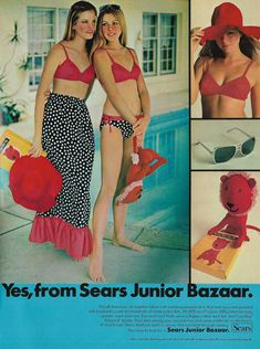vintage seventeen magazine fashion images from the to the Vintage Swim, Vintage Ads, Vintage Dresses, Vintage Style, 60s And 70s Fashion, Retro Fashion, Vintage Fashion, Belly Belly, Peasant Skirt