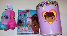 Disney Doc Mcstuffins Bathroom Set Shower Curtain Waste Basket Washcloths