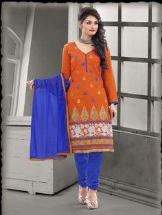 Orange Blue Chanderi Cotton Classy Casual Salwar Kameez  Eid Collection salwar suit/kameez 2015 At parisworld.in