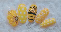 Bumblebee Handmade Glue On Nails Korean Nails Japanese Pastel Nails, Yellow Nails, Cute Acrylic Nails, Glue On Nails, Cute Nails, Bling Nails, 3d Nails, Swag Nails, Red Nail Designs