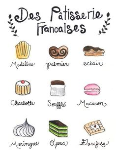 """Illustration of the pastry shop, """"Des Patisserie Francaises"""", watercolor. Want this print for my kitchen. French Language Lessons, French Language Learning, French Lessons, Foreign Language, English Lessons, Desserts Français, French Desserts, How To Speak French, Learn French"""