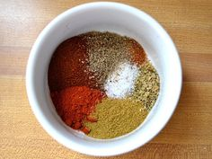 homemade taco seasoning: chili powder, paprika, cumin, cayenne, oregano, salt & pepper.