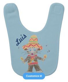 A fun blue baby bib with the illustration of a Mariachi cat musician . Perfect to celebrate Cinco de Mayo .You can personallize it with your child's name : Designed by ArianeC from iCraftCafé .