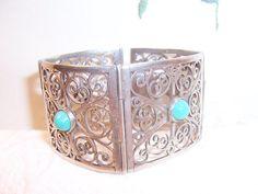 BEAUTIFUL Vintage Sterling Silver Turquoise Jewelry Bracelet WOW    eBay