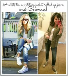 a white tee, a military jacket, jeans, and converse!  Simple and still stylish!