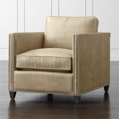 Dryden Leather Chair with Nailheads - Crate and Barrel