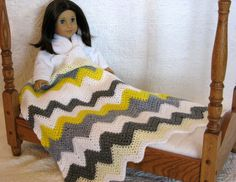 Chevron Doll Blanket  Crocheted  American Girl  by DollPatchworks, $18.00