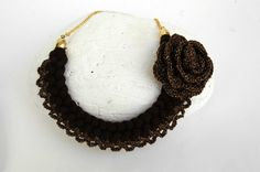 Braided  necklace Textile necklace  Crochet necklace by lindapaula  Collar de ganchillo
