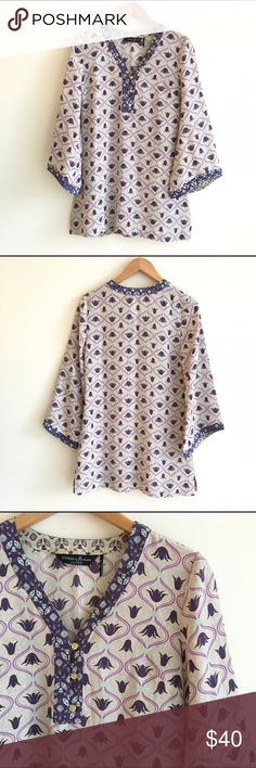 Guess by Marciano 100% Silk Tunic Purple Tulip Tan/grey colored silk blouse with purple floral print.  Long, tunic style top perfect to pair over skinnies or leggings.  Lightweight.  Side slits.  Wide kimono style sleeves.  Like new condition. Guess by Marciano Tops Tunics