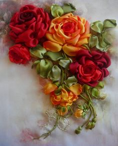 Gallery.ru / Red and yellow roses - Embroidery ribbons, Part 2 - silkfantasy