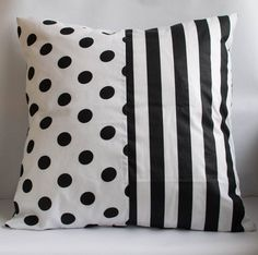 Black and White Pillow Cover Polka Dots and Stripes by MomistaBeginnings // Momista & Pop Shop on Etsy