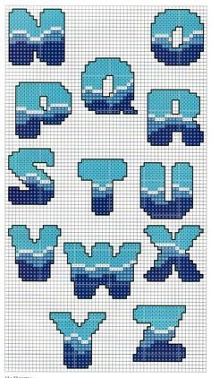 Sea pattern alphabet -- perler beads