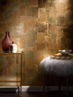Glow Oxidized Leaf Wallpaper by Phillip Jeffries I think it could be done with paints and metal leaf