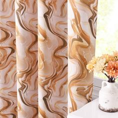 KGORGE Room Darkening Curtains 63 inch - Antelope Valley Landscape Pattern Grommet Curtains for Kids Room, Light Block Window Blind for Foyer Family Room Kitchen Cafe, 52 x 63, Taupe, 2 Pcs