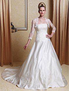 Vestido de Casamento em Seda com Cauda de Corte e Xale – EUR € 105.59