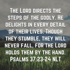 Psalms The LORD directs the steps of the godly. Though they stumble, they will never fall, for the LORD holds them by the hand. Bible Verses Quotes Inspirational, Scripture Verses, Bible Scriptures, Spiritual Quotes, Christianity Quotes, Bible Teachings, Gods Princess, Soli Deo Gloria, Understanding The Bible