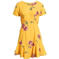 Women's Socialite Cutout Fit & Flare Dress (3.380 RUB) ❤ liked on Polyvore featuring dresses, fit flare dress, cut out dresses, flower dress, cut out fit and flare dress and yellow dress