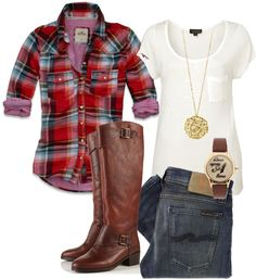 """Untitled #37"" by awagoner87 on Polyvore Looks a little country but great for fall, not really a country girl but I like this"