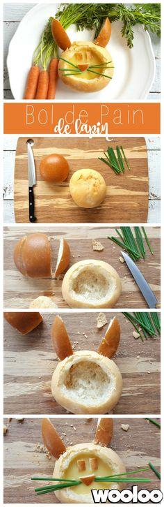 Voici comment servir une joli soupe au enfant! Voici mon bol de pain en forme de lapin de Pâques