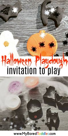 halloween playdough invitation to play for toddlers and preschoolers – a fun sensory Halloween activity for toddlers - Education and lifestyle Halloween Activities For Toddlers, Fun Halloween Games, Toddler Halloween Costumes, Halloween Crafts For Kids, Autumn Activities, Infant Activities, Halloween Themes, Halloween Party, Preschool Activities