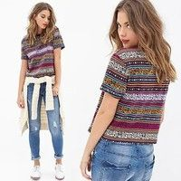 Wish   Women's Ethnic Vintage Style Printed O-neck Short Sleeve Basic Tee Casual T-Shirt Short Shirts