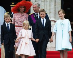 royalwatcher:  Belgium's National Day, Cathedral of Saint Michel and Gudule, Brussels, July 21, 2014-Queen Mathilde, King Philippe and front Prince Emmanuel, Princess Eléonore, Prince Gabriel and Princess Elisabeth, Duchess of Brabant