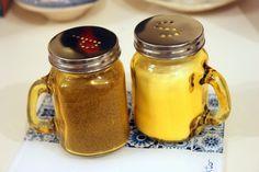 Cute jars for salt and pepper.