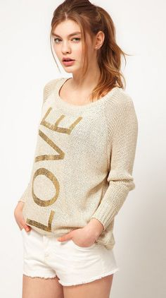 Khaki Long Sleeve LOVE Print Sweater - Sheinside.com idea for refashion embroidery or patch