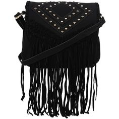 Style Tryst Bags Studded Fringe Cross Body Bag (75 AUD) ❤ liked on Polyvore featuring bags, handbags, shoulder bags, purses, bolsas, accessories, black, bags/backpacks, women and hand bags
