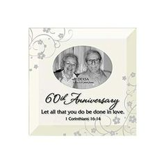 60th Anniversary Photo Frame with Easel Back Diamond Wedding Anniversary Gifts, 60th Anniversary Gifts,