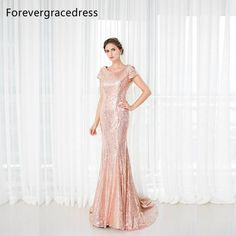 be5e6c63 Rose Gold Sequins Bridesmaid Dress. Evening Dresses With SleevesMermaid Evening  DressesSequin Evening DressesCheap Evening DressesLong ...