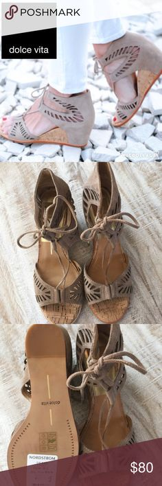 Dolce Vita Linsey lace up wedge sandal/tan/sz 8.5 NWT...The perfect shoe to take you from summer to Fall!  The Linsey by Dolce Vita is a best-selling style, color is almond, suede with geometric cutouts.  Size is 8.5 but reviews say they run large. 3 in cork detailed wedge heel. This pair is brand new, tags still on from Nordstrom, no box. 🚫no trades/lowball offers. Dolce Vita Shoes Sandals