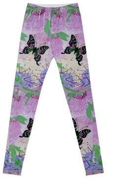 My original water color painting printed on Fancy Leggings featuring a Purple Spotted Swallowtail butterfly (Graphium Weiskei) flying between Pink Trumpet Vine & Purple Hebe flowers indigenous to New Guinea.