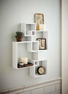Shelving Solution Intersecting Decorative White Color Wal...
