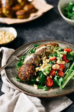 These warm flavorful falafels are better than the real deal! Packed with cauliflower and fresh herbs! A low carb delicious meal that is easily made in a blender. Whole30 Dinner Recipes, Paleo Dinner, Vegetarian Recipes, Healthy Recipes, Paleo Meals, Delicious Recipes, Easy Meals, Cooking Recipes, Paleo Whole 30