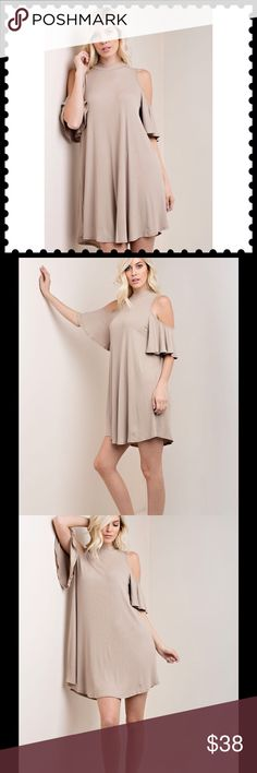 """💙COLD SHOULDER SOLID RIBBED DRESS💙 COLD SHOULDER RIBBED SWING DRESS.   OPEN NECKLINE IN BACK.  COLOR IS MOCHA.  95% Rayon;  5% Spandex.  Length is 36"""".  This is a brand new Boutique item.  NWOT. Dresses"""