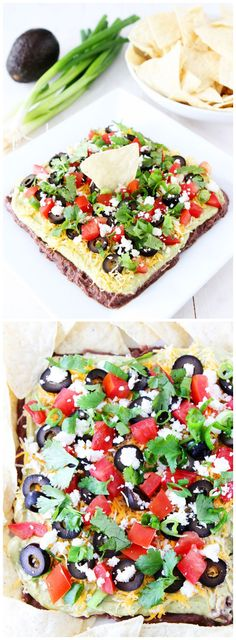 Mexican Layer Dip on twopeasandtheirpod.com This easy 7 layer dip is perfect for game day or any party! It is always a hit!