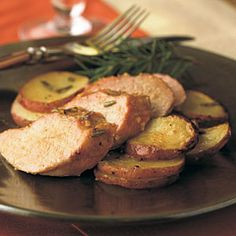 Grilled Pork Recipes | Hickory-Planked Pork Tenderloin with Rosemary-Dijon Potatoes | CookingLight.com