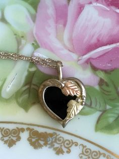 Vintage Coleman Black Hills Gold Heart Pendant Necklace Onyx & Sterling Silver by Holliezhobbiez on Etsy
