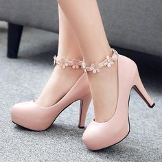 Cheap pink wedding shoes, Buy Quality wedding shoes directly from China platform shoes Suppliers: 2017 Sexy Platform Pumps Fashion Ankle-Strap Stilettos Sweet Flower Princess High-Heeled Platform Shoes Women Pink Wedding Shoes Fancy Shoes, Pretty Shoes, Beautiful Shoes, Me Too Shoes, Fashion Heels, Fashion Boots, Fashion Fashion, Mode Adidas, Pink Wedding Shoes