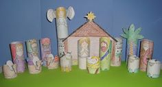 Printable Nativity for Kids - color, cut, tape to toilet paper rolls, and play! Great for FHE Monday!