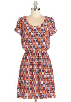 Acoustic Crooning Dress. Even when your guitar is out of reach, you can sing a capella in this darling guitar-print dress! #multi #modcloth