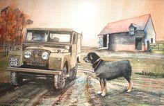 Original Nature Painting by John Lowerson Defender Td5, Land Rover Defender, Lander Rover, Best Off Road Vehicles, Range Rover Off Road, Best 4x4, 4x4 Trucks, Car Painting, Nature Paintings