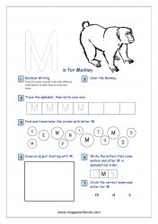 Lowercase Alphabet Recognition Activity Worksheet - Small Letter - m for monkey Letter Tracing Worksheets, Alphabet Tracing, Free Printable Worksheets, Printable Letters, Printables, Alphabet Writing Practice, Alphabet Activities, Rainbow Writing, Alphabet Pictures